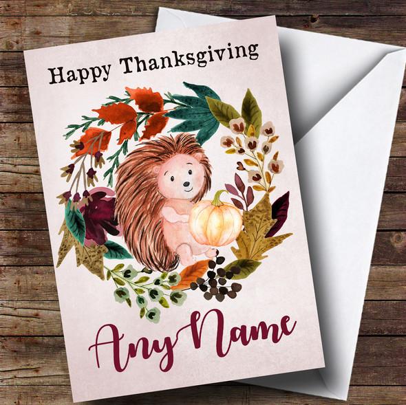 Hedgehog Autumn Wreath Personalised Thanksgiving Card