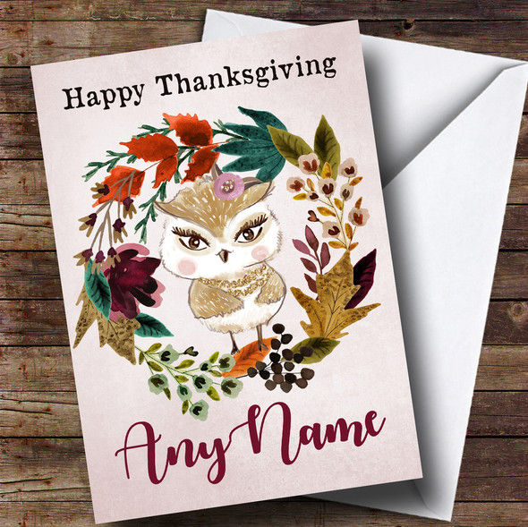 Owl Autumn Wreath Personalised Thanksgiving Card