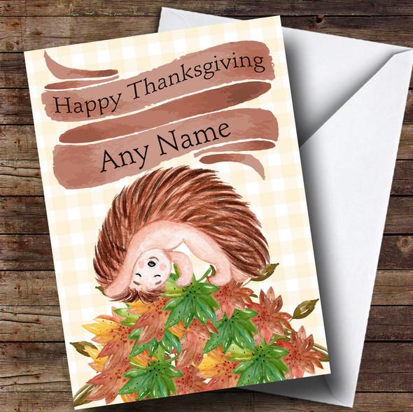 Playful Hedgehog Personalised Thanksgiving Card