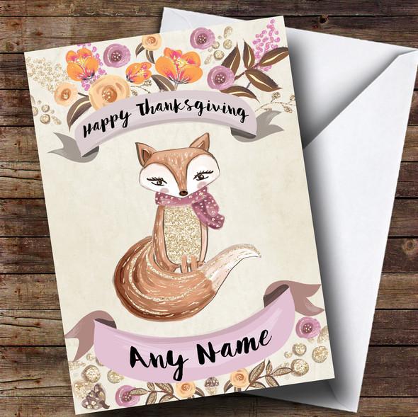 Pretty Fox Personalised Thanksgiving Card
