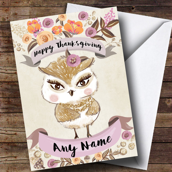Pretty Owl Personalised Thanksgiving Card