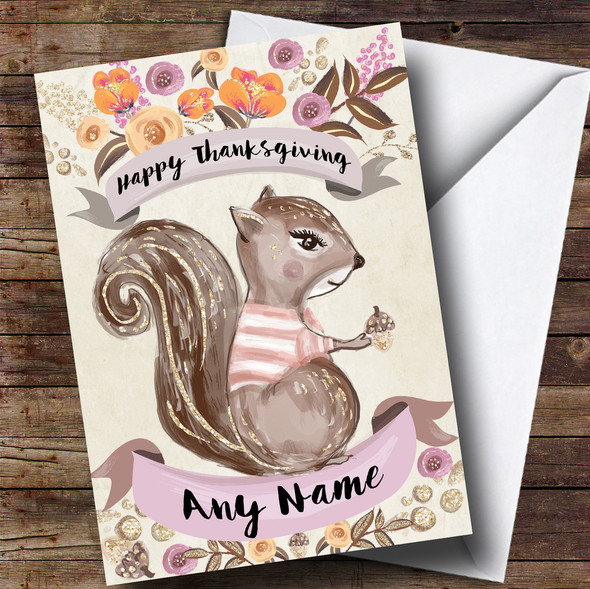 Pretty Squirrel Personalised Thanksgiving Card