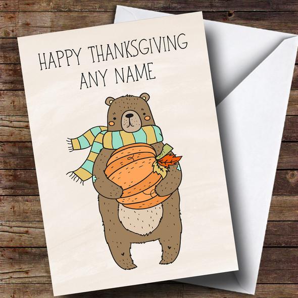 Pumpkin & Bear Personalised Thanksgiving Card