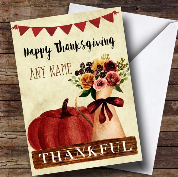 Pumpkin & Flowers Personalised Thanksgiving Card