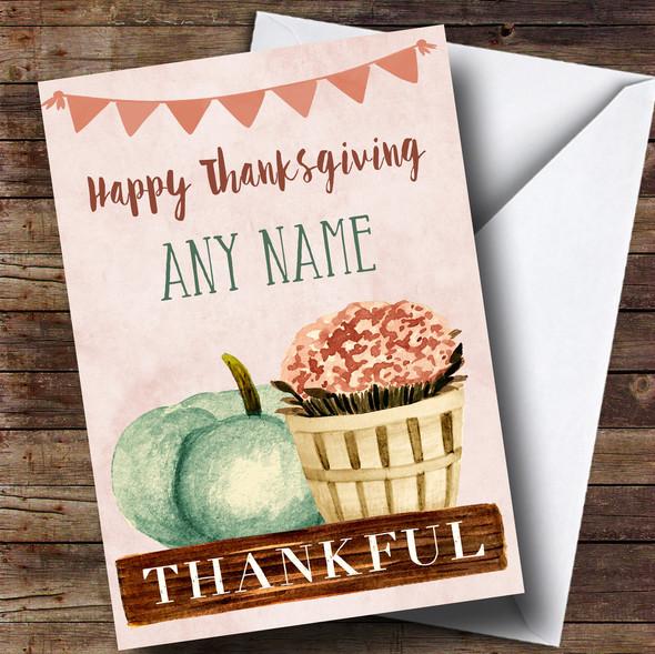 Pumpkin & Plant Personalised Thanksgiving Card