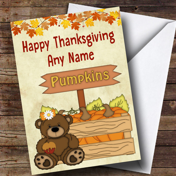 Pumpkin Bear Personalised Thanksgiving Card