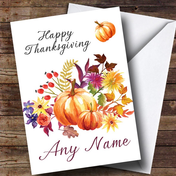 Pumpkin Floral Personalised Thanksgiving Card