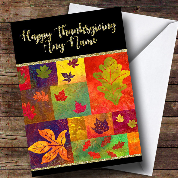 Quilted Fall Leaves Golden Personalised Thanksgiving Card
