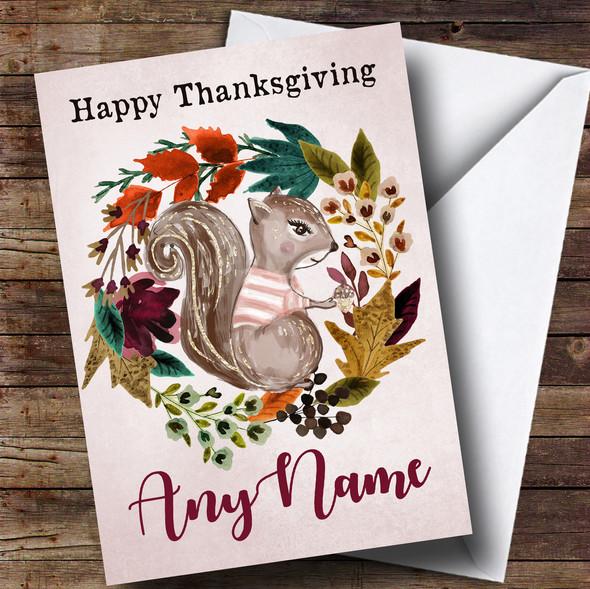 Squirrel Autumn Wreath Personalised Thanksgiving Card