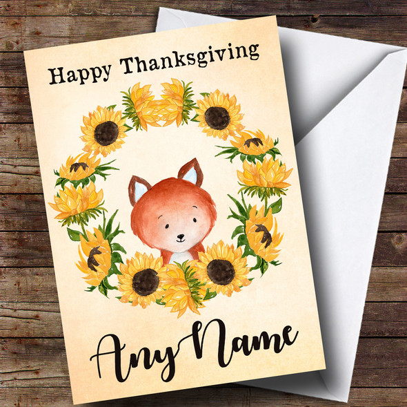 Sunflower Fox Personalised Thanksgiving Card