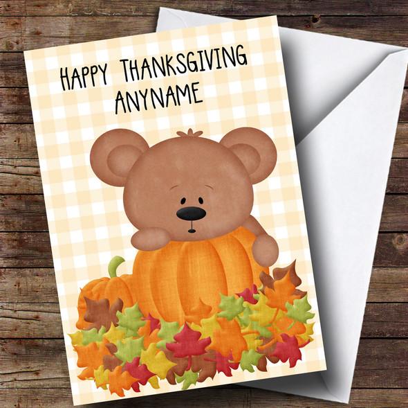 Teddy & Pumpkin Personalised Thanksgiving Card