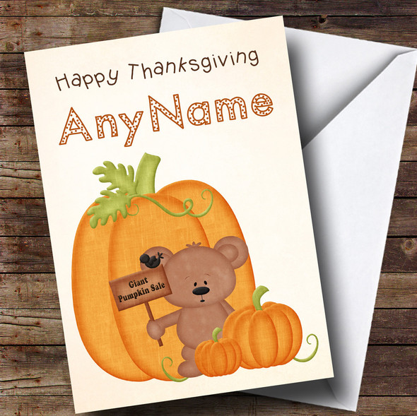 Teddy Bear Pumpkin Sale Personalised Thanksgiving Card