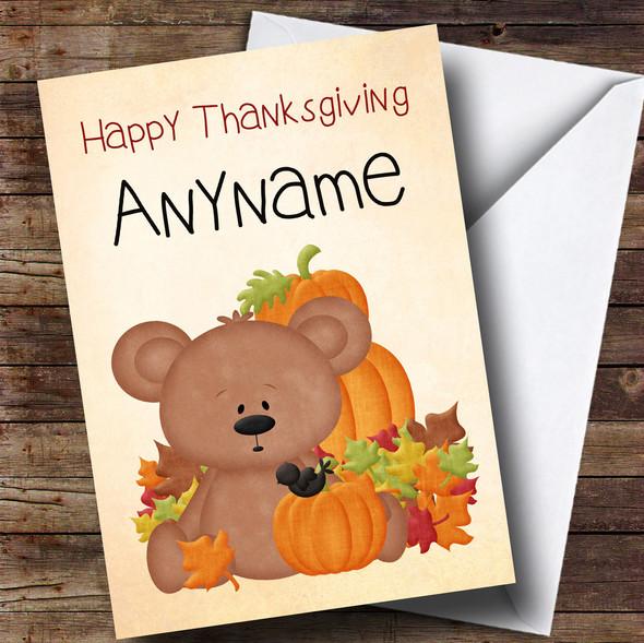 Teddy Bear Pumpkin Personalised Thanksgiving Card