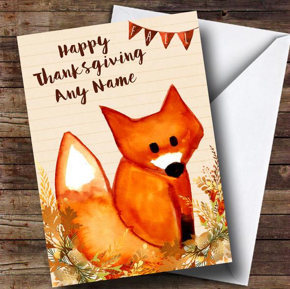 Watercolour Fox Fall Personalised Thanksgiving Card