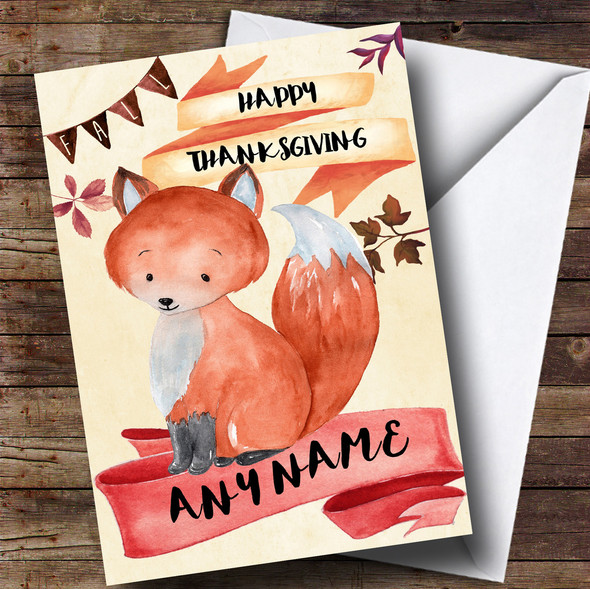 Watercolour Fox Personalised Thanksgiving Card