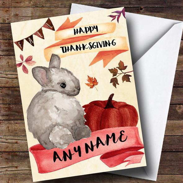 Watercolour Rabbit Personalised Thanksgiving Card