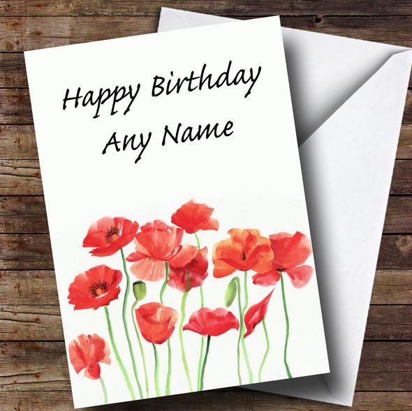 Poppy Flowers Floral Personalised Birthday Card