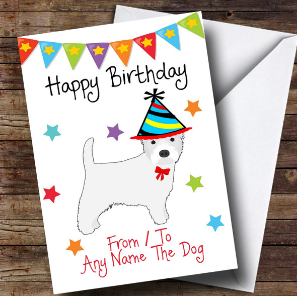 To From Pet Dog Westie West Highland Terrier Personalised Birthday Card