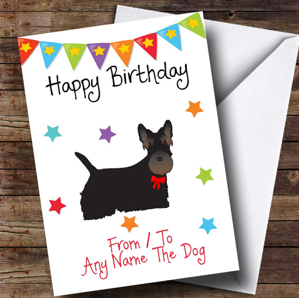 To From Pet Dog Scottie Scottish Terrier Personalised Birthday Card