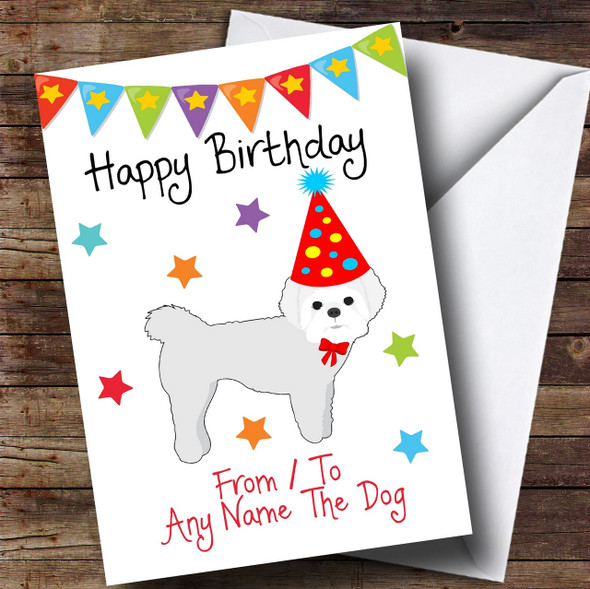 To From Pet Dog White Maltese Terrier Personalised Birthday Card