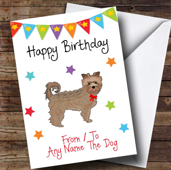 To From Pet Dog Yorkshire Terrier Dog Personalised Birthday Card
