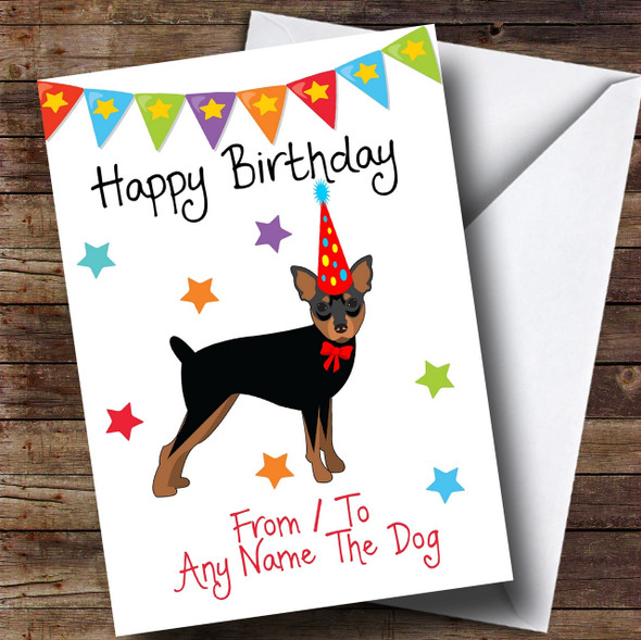 To From Pet Dog Miniature Pinscher Personalised Birthday Card