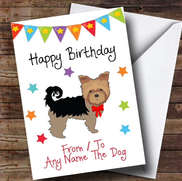 To From Pet Dog Yorkshire Terrier Personalised Birthday Card