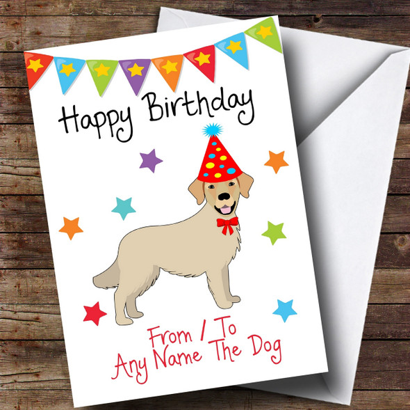 To From Pet Dog Golden Retriever Personalised Birthday Card