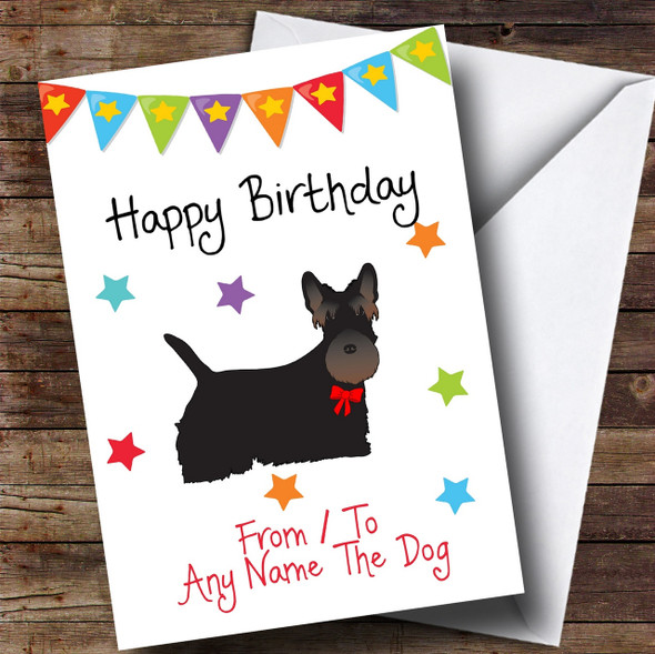 To From Pet Dog Scottish Terrier Personalised Birthday Card