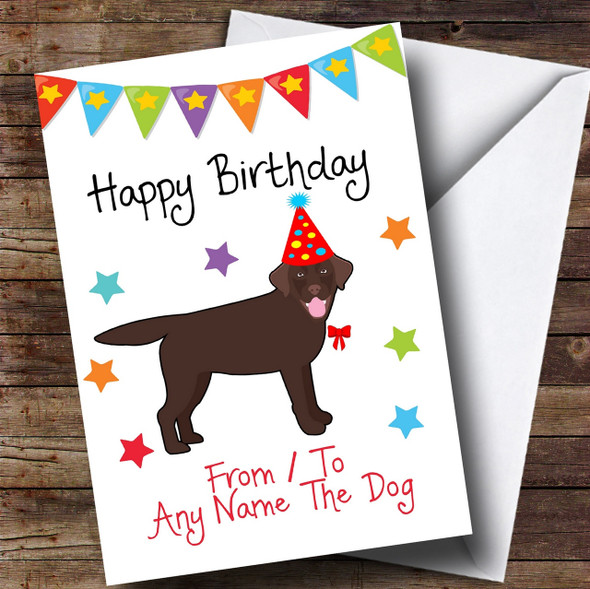To From Dog Chocolate Labrador Personalised Birthday Card