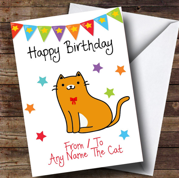 To From Pet Cat Ginger & White Personalised Birthday Card