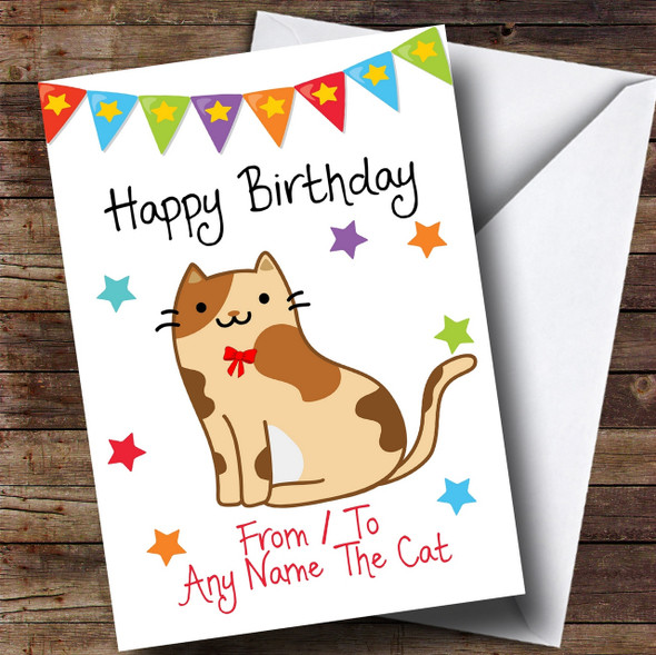 To From Pet Cat Tortoiseshell Personalised Birthday Card