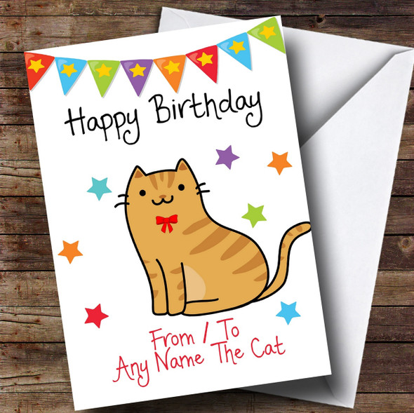 To From Pet Cat Ginger Tabby Personalised Birthday Card