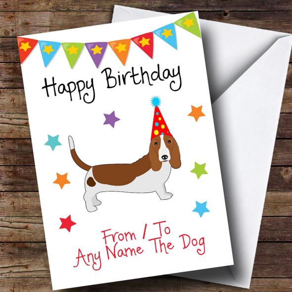 To From Pet Dog Basset Hound Personalised Birthday Card