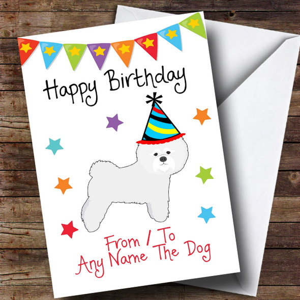 To From Pet Dog Bichon Frise Personalised Birthday Card