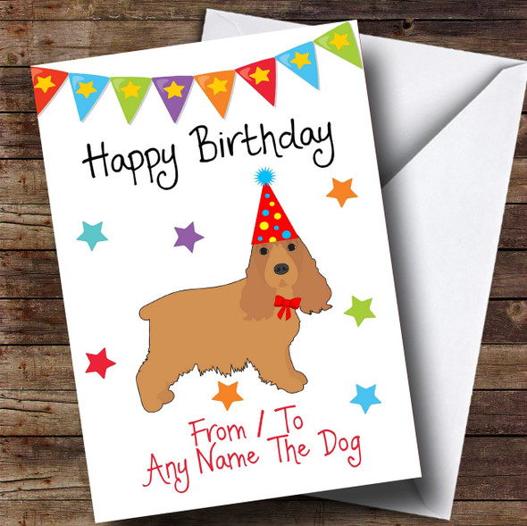 To From Dog Cocker Spaniel Personalised Birthday Card