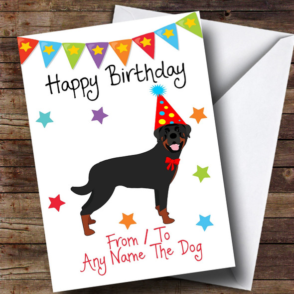 To From Pet Dog Rottweiler Personalised Birthday Card
