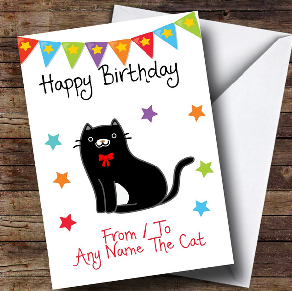 To From Cat Black & White Personalised Birthday Card