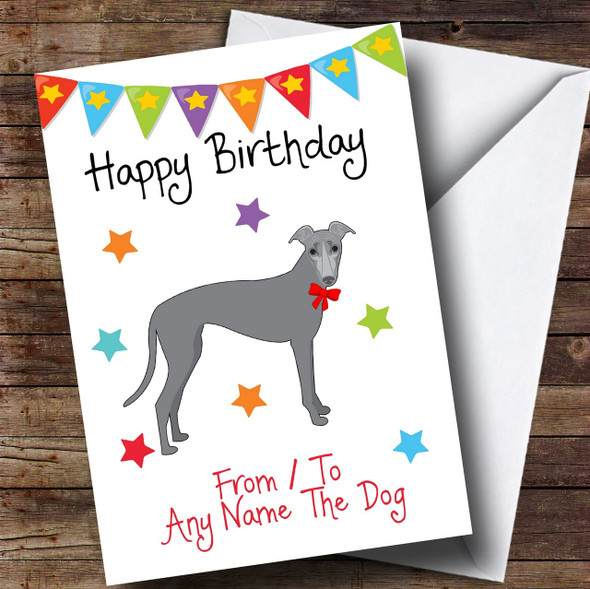 To From Pet Dog Greyhound Personalised Birthday Card