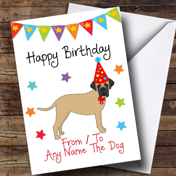 To From Dog Bull Mastiff Personalised Birthday Card