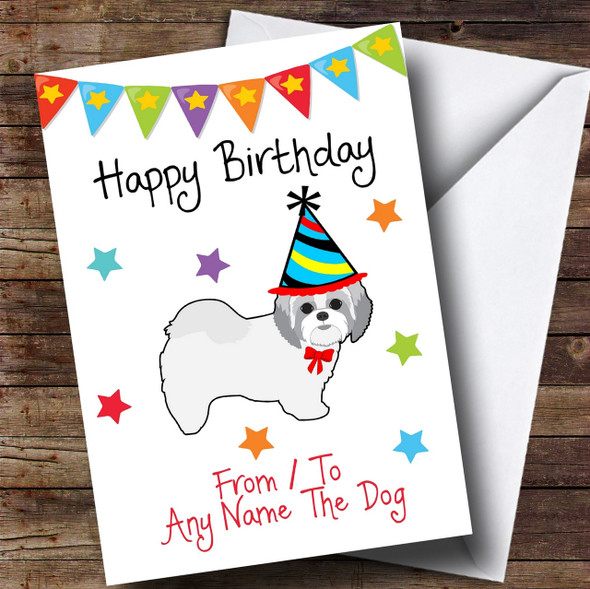 To From Pet Dog Shih Tzu Personalised Birthday Card
