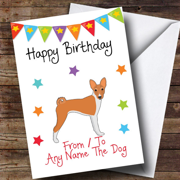 To From Pet Dog Basenji Personalised Birthday Card