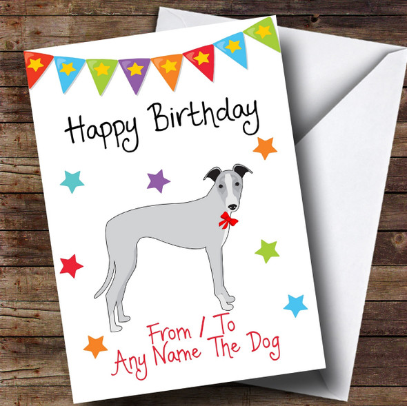 To From Pet Dog Whippet Personalised Birthday Card