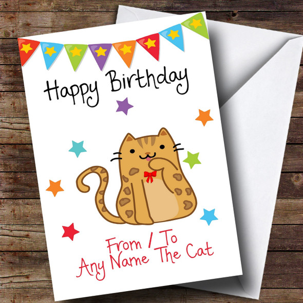 To From Pet Cat Bengal Personalised Birthday Card
