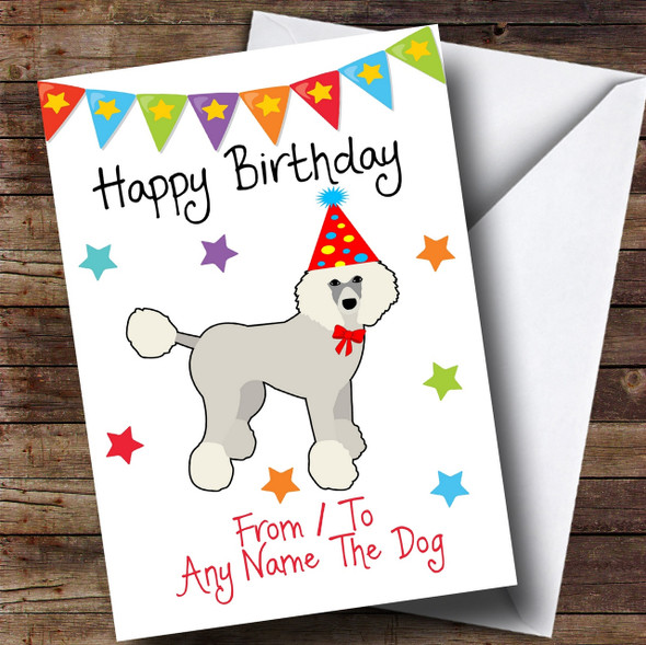 To From Pet Dog Poodle Personalised Birthday Card