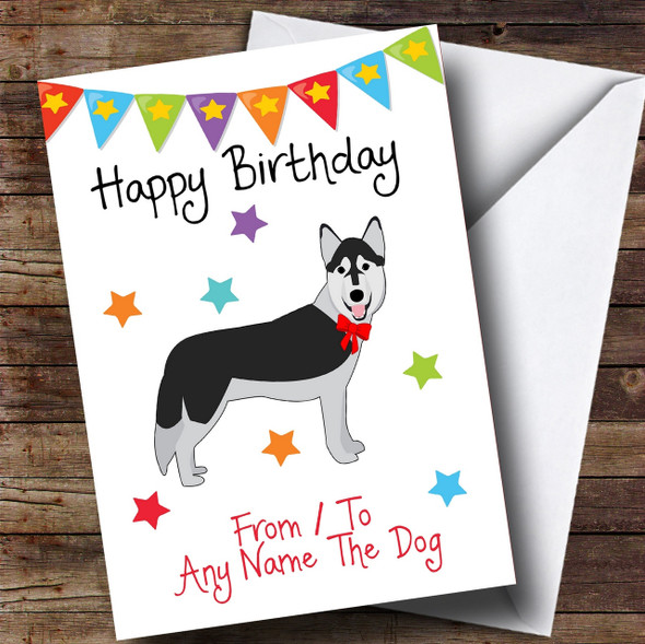 To From Pet Dog Husky Personalised Birthday Card