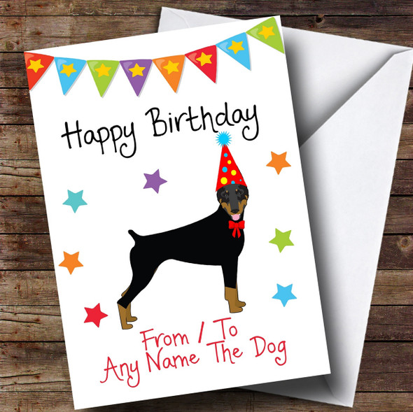 To From Dog Doberman Personalised Birthday Card
