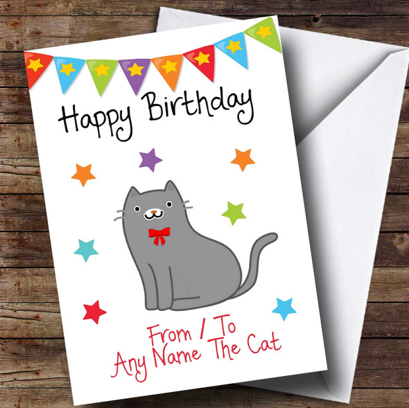 To From Pet Grey Cat Personalised Birthday Card