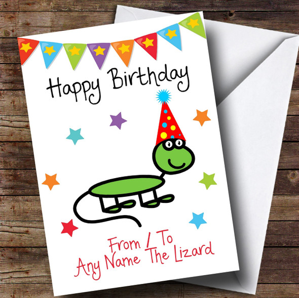 To From Pet Lizard Personalised Birthday Card