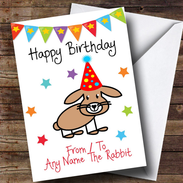 To From Pet Rabbit Personalised Birthday Card